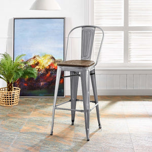 Promenade Metal Bar Stool with Bamboo Seat in Gunmetal