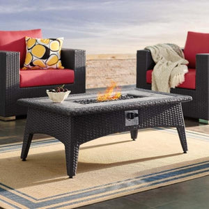 Splendor Outdoor Patio Faux Rattan Fire Pit Table - taylor ray decor