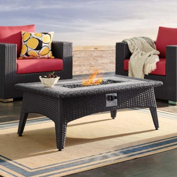 Splendor Outdoor Patio Faux Rattan Fire Pit Table