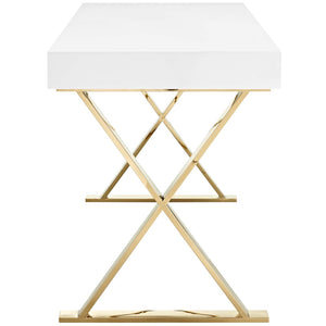 Sector Modern Home Office Desk (White Gold) - taylor ray decor