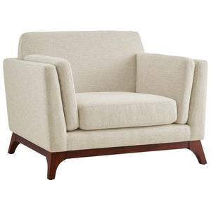 Chance Contemporary Upholstered Fabric Armchair in Beige