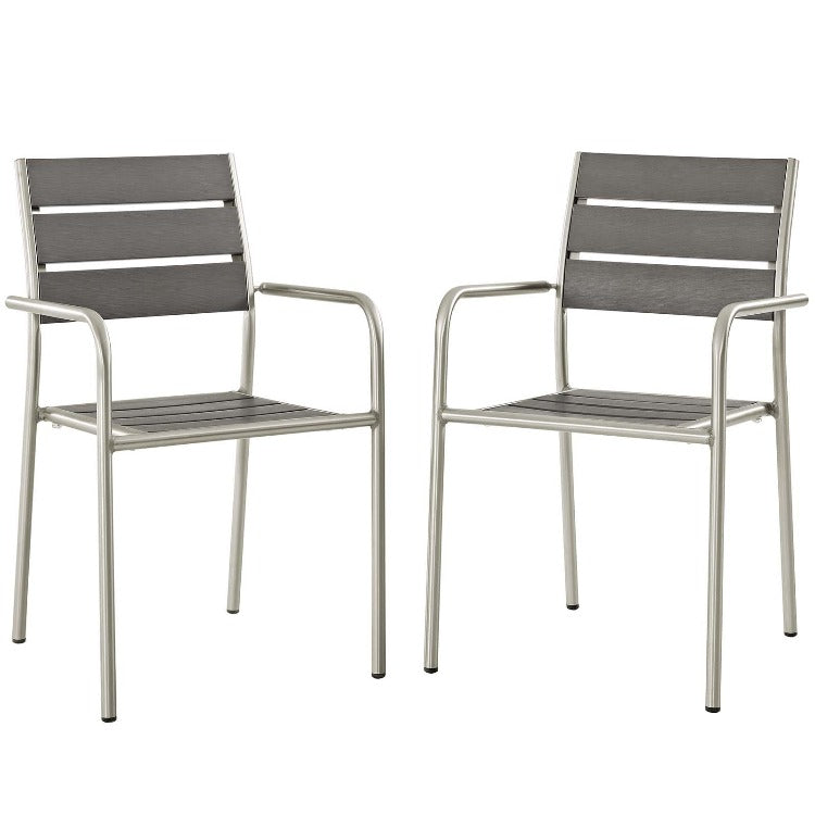 Shore Outdoor Patio Aluminum Dining Chair / Rounded Arm Set of 2 - taylor ray decor