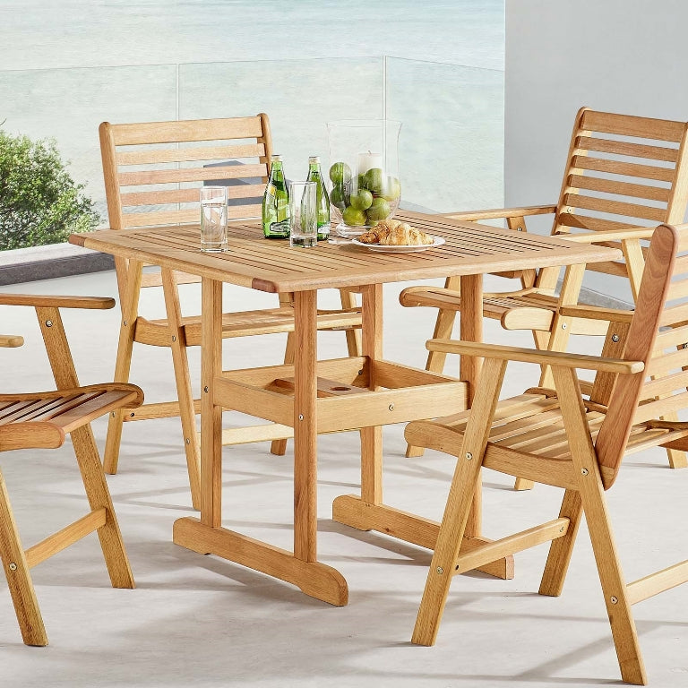 Hatteras Square Outdoor Patio Eucalyptus Wood Dining Table