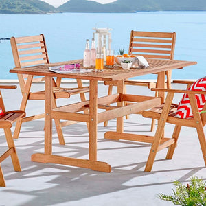 Hatteras Rectangle Outdoor Patio Eucalyptus Wood Dining Table