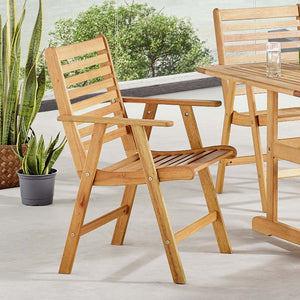 Hatteras Outdoor Patio Eucalyptus Wood Dining Armchair - taylor ray decor