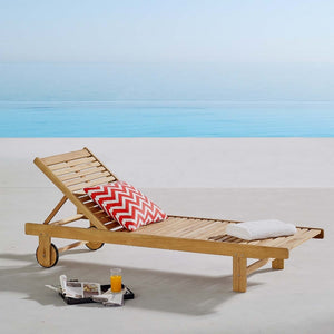 Hatteras Outdoor Patio Eucalyptus Wood Chaise Lounge - taylor ray decor