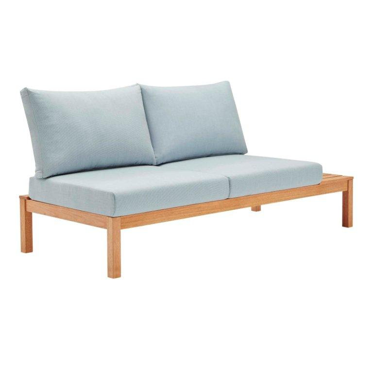 Freeport Karri Wood Outdoor Patio Loveseat with Left-Facing Side End Table
