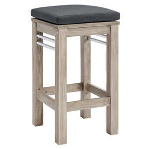 Wiscasset Outdoor Patio Acacia Wood Bar Table with 4 Stools Set