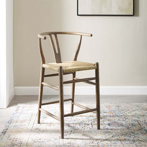 Amish Wood Counter Stool in Gray