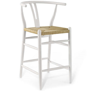 Amish Wood Counter Stool in White