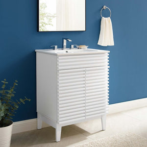 Render Bathroom Vanity with Sink Basin in White