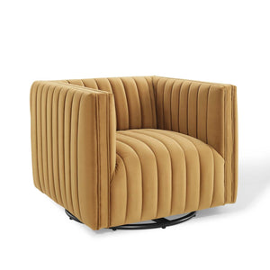 Conjure Channel Tufted Velvet Swivel Armchair in Cognac