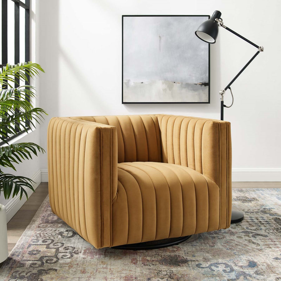 Conjure Channel Tufted Velvet Swivel Armchair - taylor ray decor