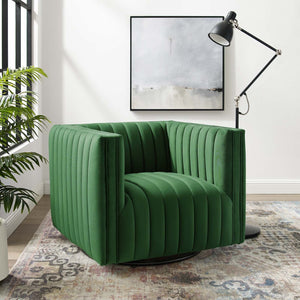 Conjure Channel Tufted Velvet Swivel Armchair in Emerald