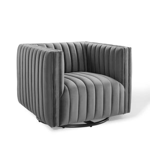 Conjure Channel Tufted Velvet Swivel Armchair in Gray