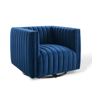 Conjure Channel Tufted Velvet Swivel Armchair in Navy
