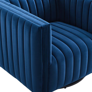 Conjure Channel Tufted Velvet Swivel Armchair