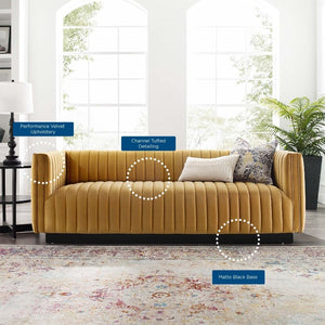 Conjure Channel Tufted Velvet Sofa