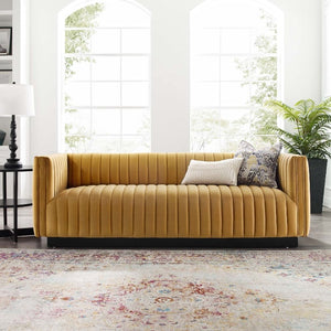 Conjure Channel Tufted Velvet Sofa in Cognac