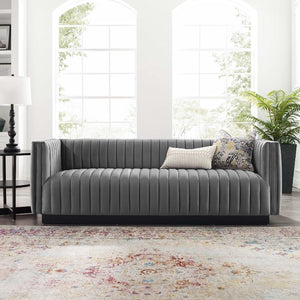 Conjure Channel Tufted Velvet Sofa in Gray