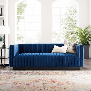 Conjure Channel Tufted Velvet Sofa in Navy