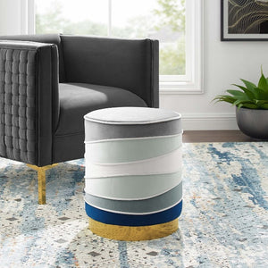 Ribbon Round Performance Velvet Ottoman - taylor ray decor