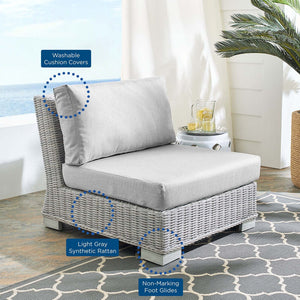 Conway Sunbrella® Outdoor Patio Wicker Rattan Armless Chair - taylor ray decor
