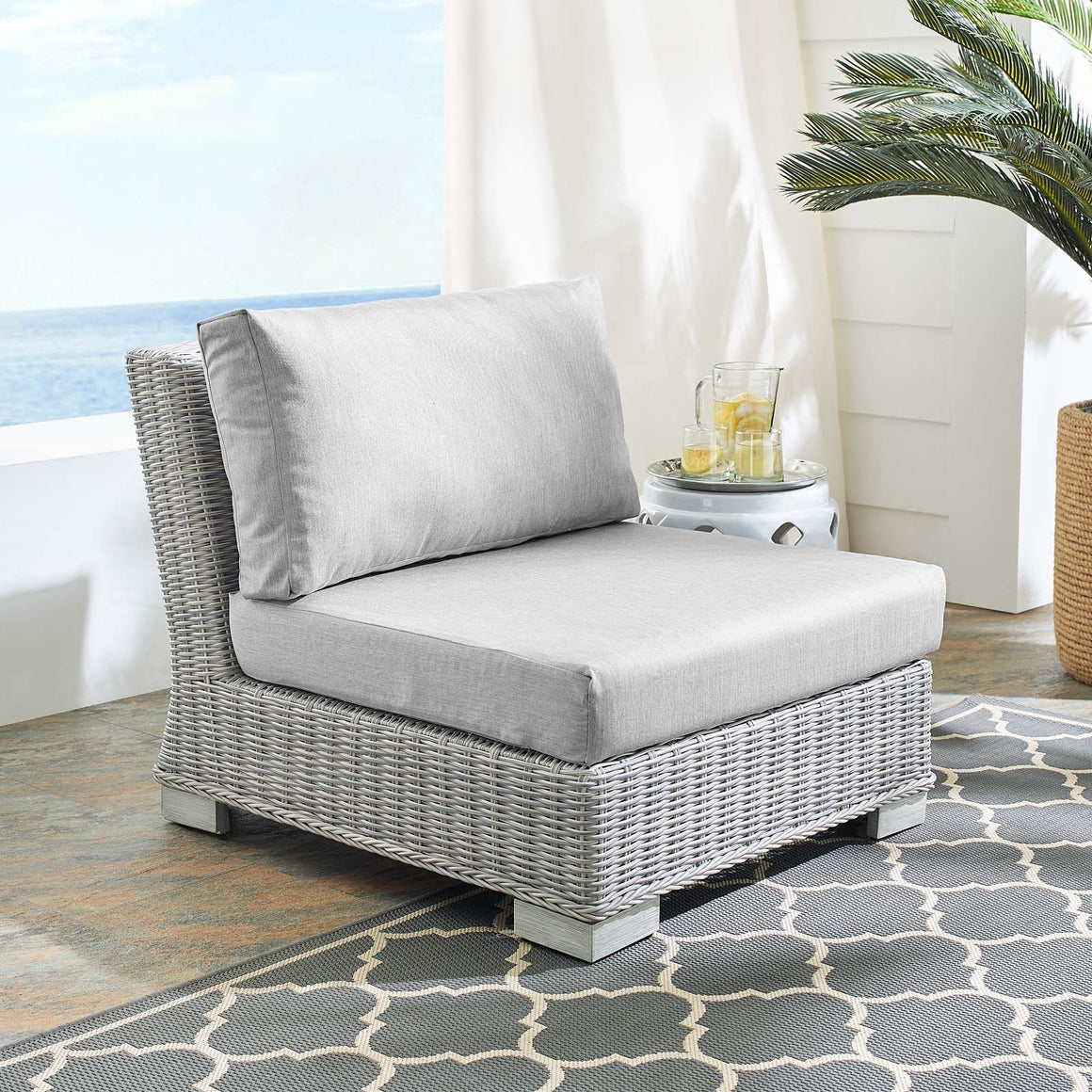 Conway Sunbrella® Outdoor Patio Wicker Rattan Armless Chair in Gray