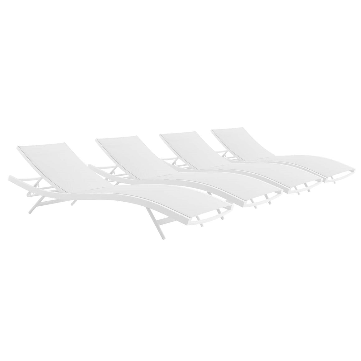 Glimpse Outdoor Patio Mesh Chaise Lounge Chair / Set of 4 - taylor ray decor