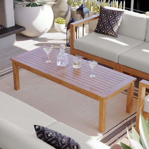 Upland Outdoor Patio Teak Large Wood Coffee Table