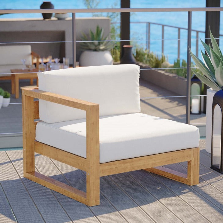 Upland Outdoor Patio Teak Wood Left-Arm Chair in Natural White