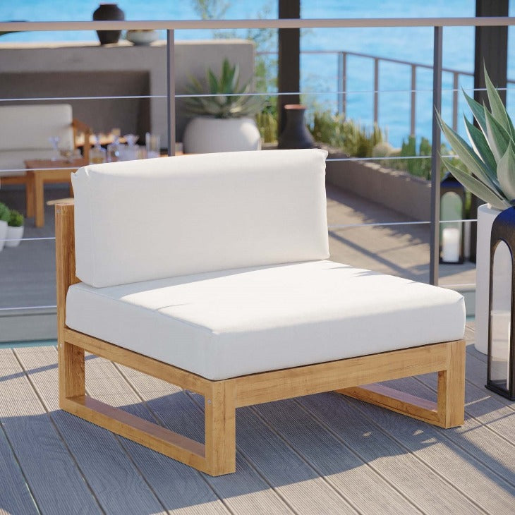 Upland Outdoor Patio Teak Wood Armless Chair in Natural White