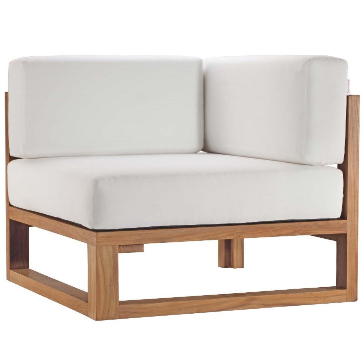 Upland Outdoor Patio Teak Wood Corner Chair in Natural White