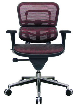 ErgoHuman Plum Red Mesh Executive Chair (Mid-Back shown)