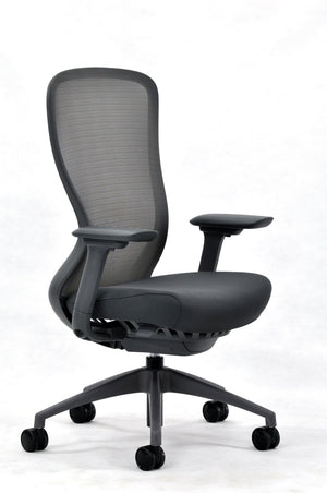 Exchange Mesh High Back Executive Chair in Jet Black & Charcoal Frame