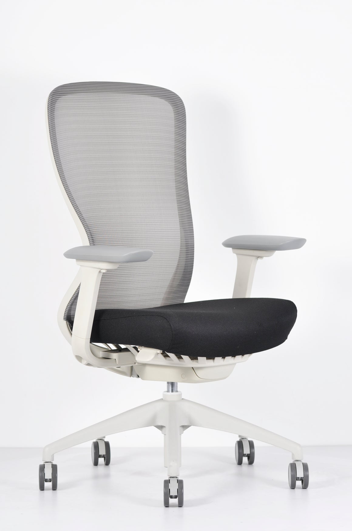 Exchange Mesh High Back Executive Chair in Satellite Charcoal & White Frame