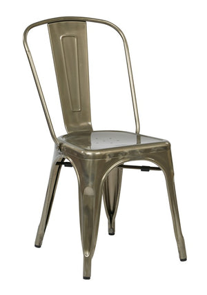 Bristow Armless Metal Dining Chair in Bright Gunmetal