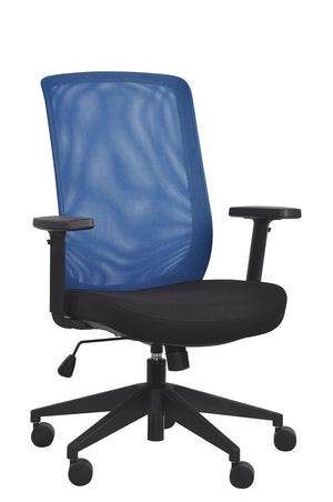 Gene Mesh / Fabric Back Executive Chair in Blue Mesh