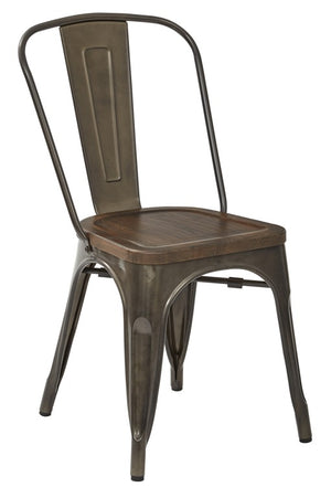 Indio Metal Chairs with Wood Seat, Set of 2 - taylor ray decor
