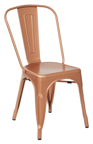 Bristow Armless Metal Dining Chair in Copper