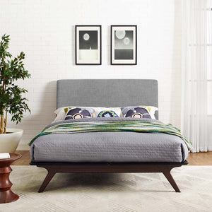 Tracy Mid-Century Modern Bed in Cappuccino Frame