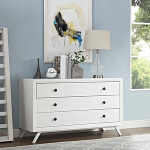 Tracy Mid-Century Modern Wood Dresser in White