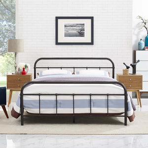 Maisie Stainless Steel Bed Frame in Brown