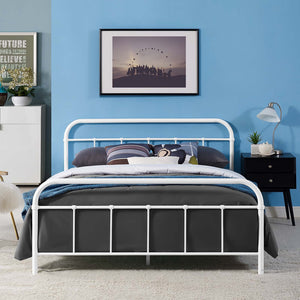 Maisie Stainless Steel Bed Frame in White