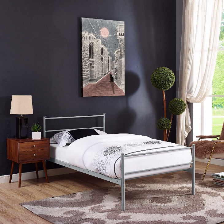 Alina Twin Steel Platform Bed in Gray