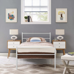 Alina Twin Steel Platform Bed in White
