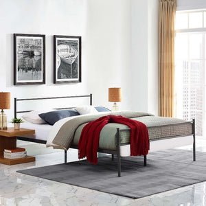 Alina Queen Steel Platform Bed in Brown