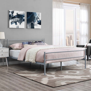 Alina Full Steel Platform Bed in Gray