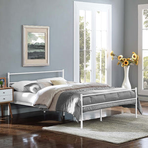 Alina Full Steel Platform Bed in White