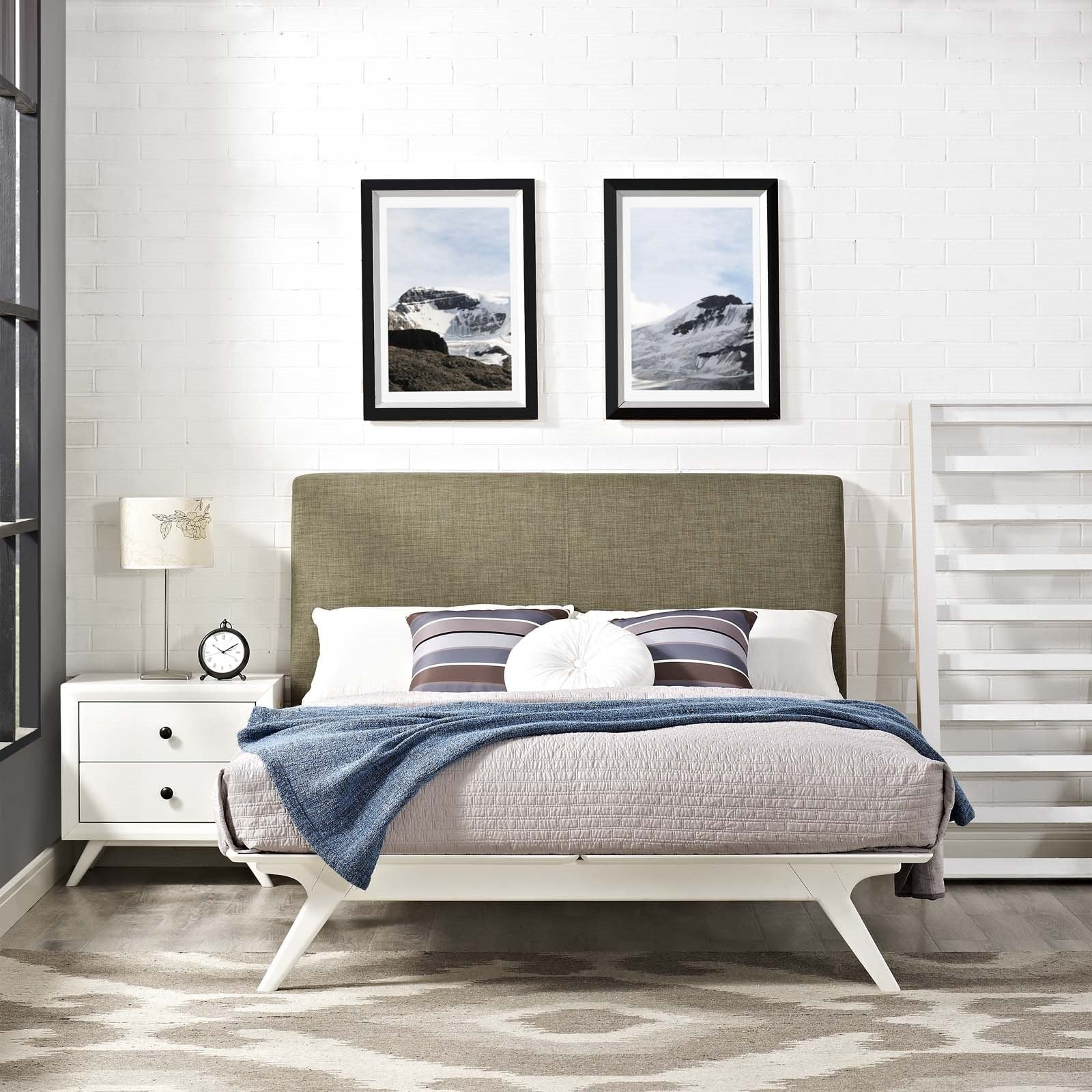 Tracy Mid Century Modern Bed In White Frame